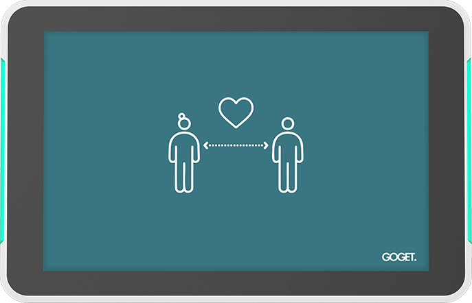 covid-mode feature, two people keeping social distance with an arrow in between.